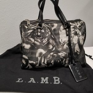 L.A.M.B. Gwen Stefani Black/White/Grey Floral Bag